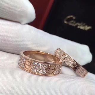 ❤NB-SUN❤Cartier卡地亞滿天星戒指 鈦鋼戒指 鍍18k玫瑰金不變色 情侶螺絲釘cnc鑲鑽Cartier戒指