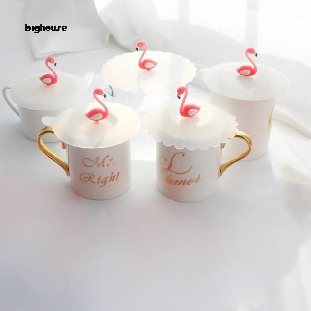 Bighouse_Creative火烈鳥防灰塵可重複使用的矽膠咖啡杯玻璃杯蓋蓋蓋