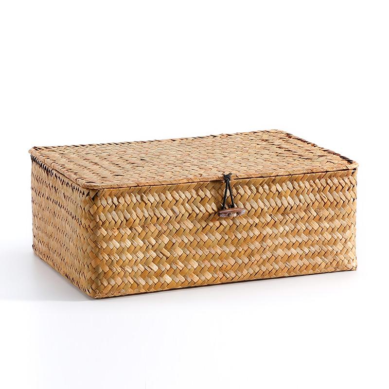 SLS 手工海草編收納禮品盒 桌面整理盒 首飾盒包裝盒茶盒