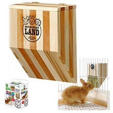 汪旺來【歡迎自取】Marukan原木雙色牧草架MR-612天竺鼠兔子適用(牧草的家)補充牧草盒、上開式設計~補充方便