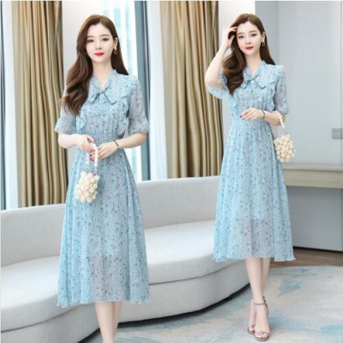 洋裝 短袖 甜美 裙子S-2XL新款可鹽可甜雪紡連身裙淡藍色的淺色碎花長裙仙H325-9231.胖胖美依