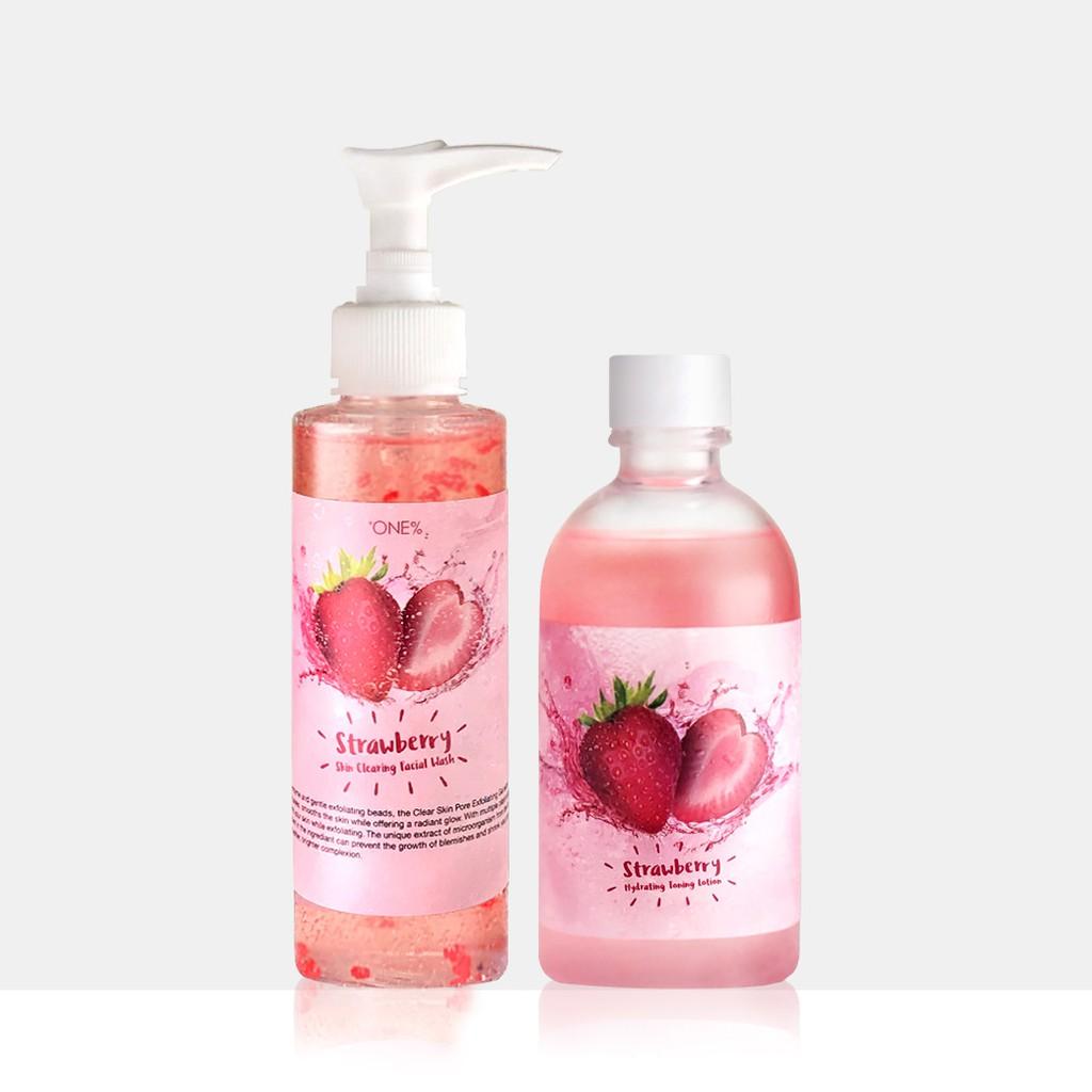 【歐恩伊】美莓保濕潔顏組-草莓潔面膠150ml + 草莓保濕化妝水165ml 官方旗艦店