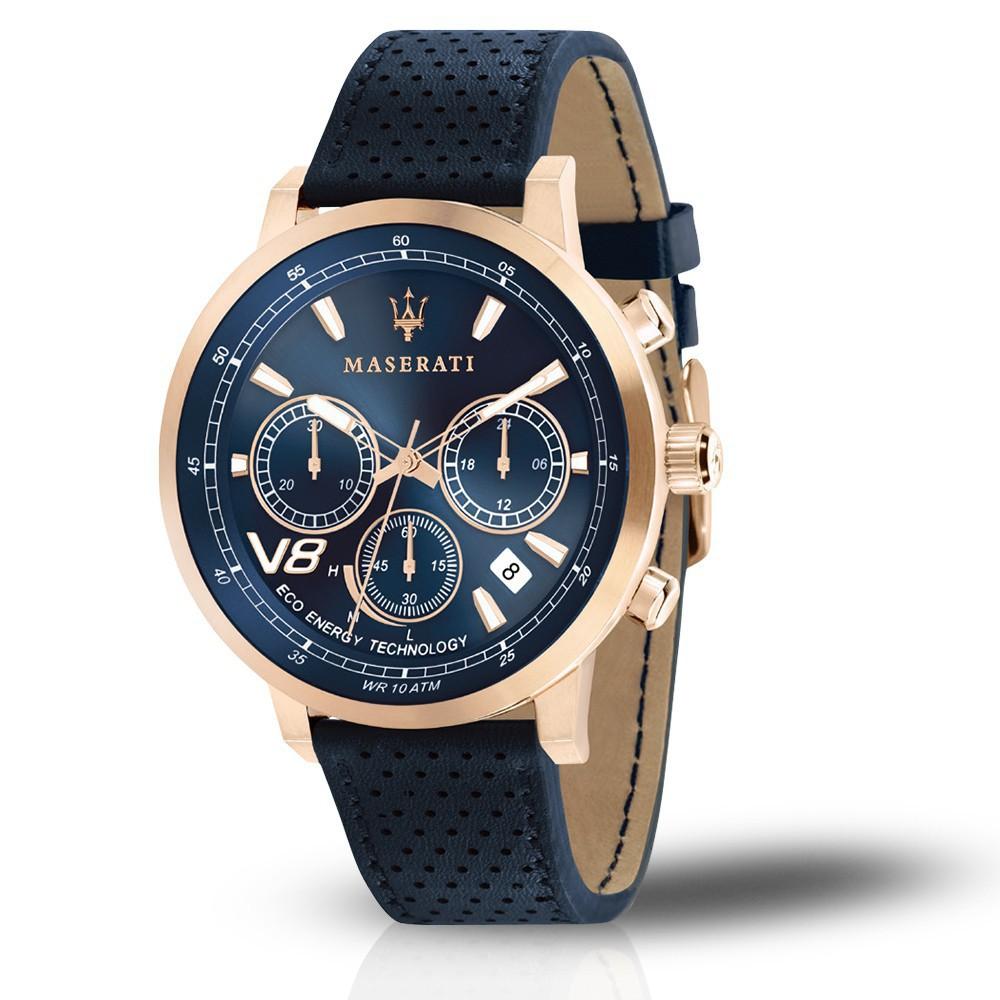 MASERATI WATCH瑪莎拉蒂手錶 R8871134003 2018年新款光動能 時尚三眼計時 真皮錶帶 錶現精品