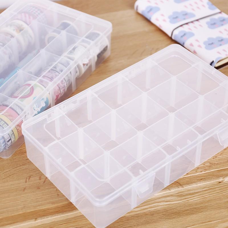 簡約15格收納盒 多功能透明塑料雜物小物整理儲物盒子#1155