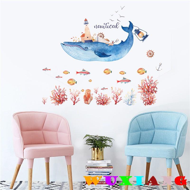 【五象設計】動物354 DIY 壁貼 可愛海豚貼畫 房間裝飾 清新牆貼 手繪牆貼紙 牆壁裝飾 居家牆貼
