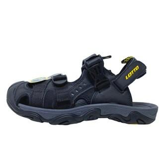 英德鞋坊~LOTTO樂得-義大利第一品牌 男款兩穿式戶外運動護趾涼鞋 涼拖鞋 [LT9AMS0180] 黑590
