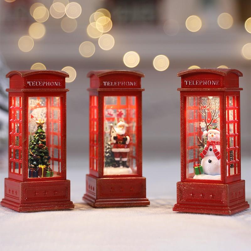#萬聖節圣誕節LED火焰燈擺件電話亭小油燈道具咖啡廳KTV場景布置裝飾風燈