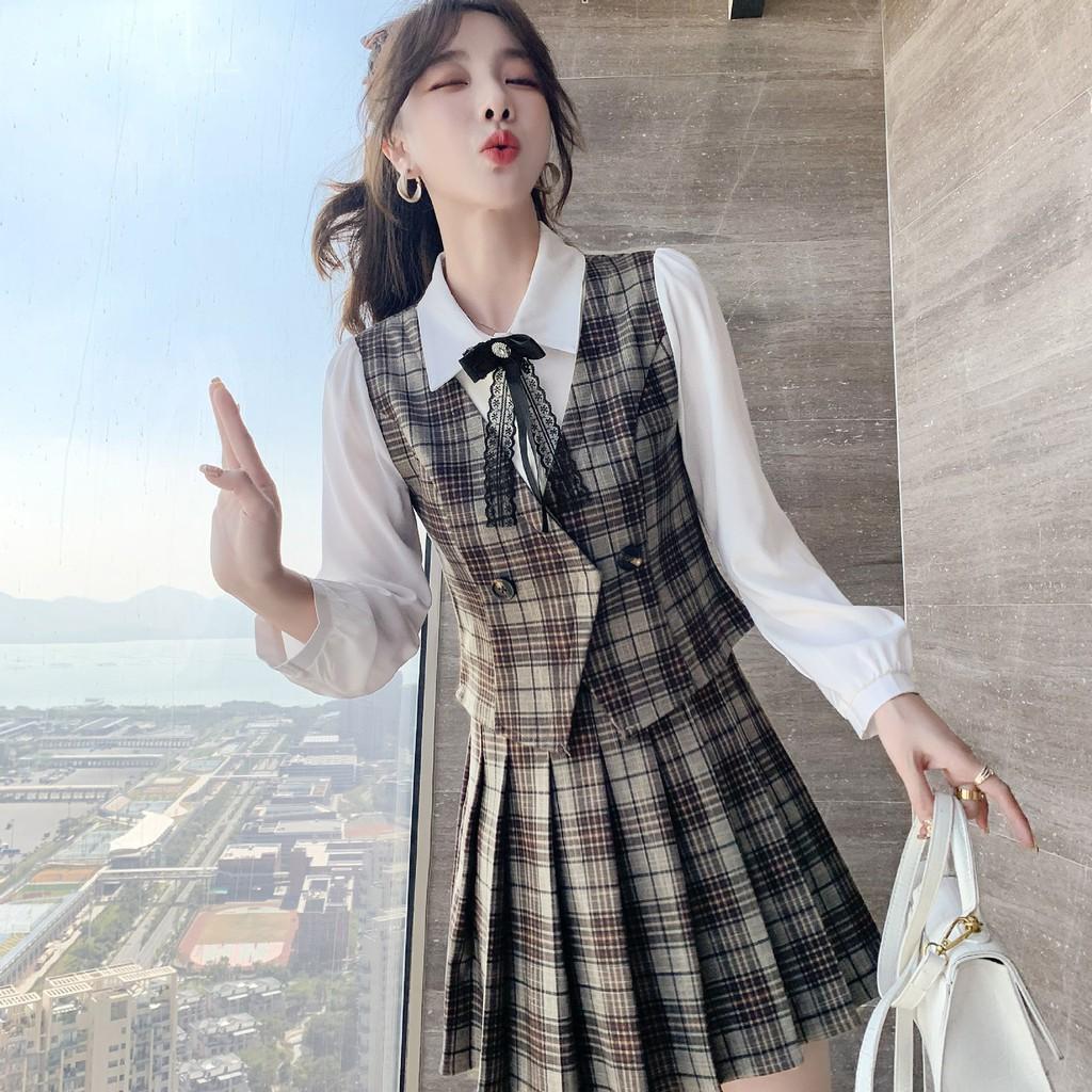 2021春夏新款英倫學院風上衣+百褶裙套裝小個子顯高輕熟兩件套裙