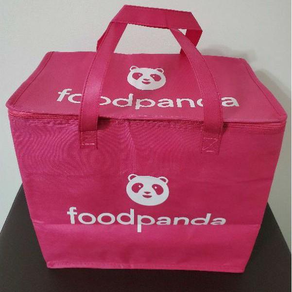 可愛粉紅熊貓造型外送保溫提袋 可折疊 鋁箔內襯 8孔 杯架 ubereats 熊貓 非官方保溫袋 foodanda 小箱