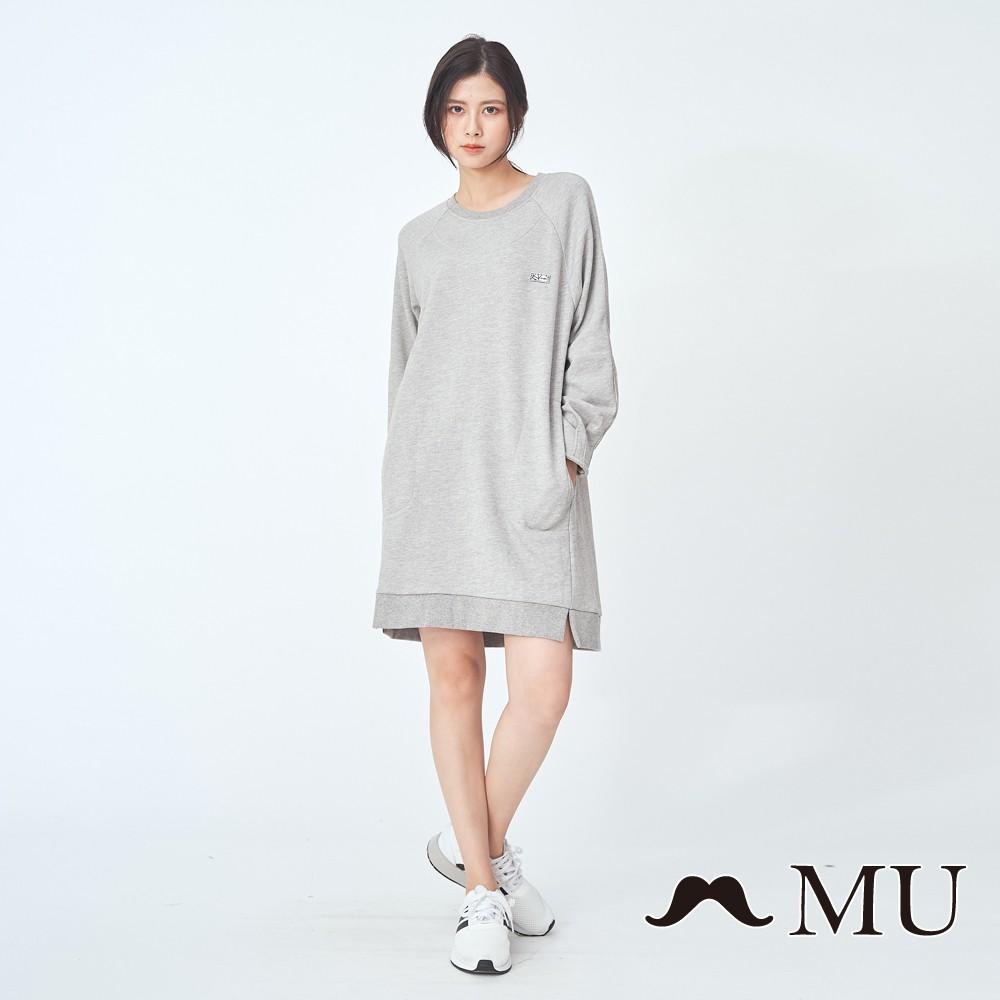 MU (99)顯瘦休閒前短後長洋裝(中灰)