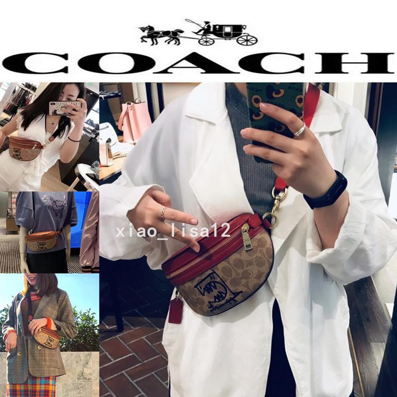 代購 COACH 蔻馳 塗鴉F73939 可愛小怪獸女生腰包 斜背包 肩背包 側背包 胸包 防刮輕便攜帶 男女通用斜挎包