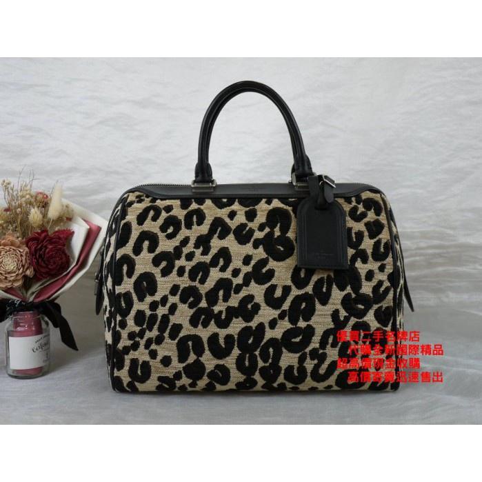 優買二手精品名牌店 LV M97396 超限量 絨布 緹花布 豹紋 皮革 手提包 SPEEDY30 波士頓包 I