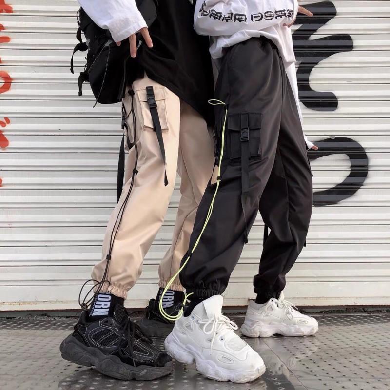 復古戰術工裝束腳褲 潮流 復古 男女 撞色 多口袋 抽繩 綁帶 束腳褲192