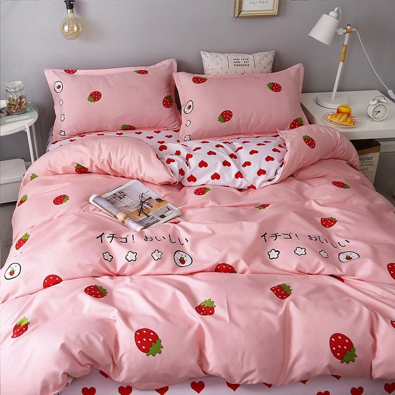 【現貨】床包四件組 單人/雙人/加大雙人床包四件組床包組 被單組床單組薄被套枕頭套被單4件組 ins風網紅少女