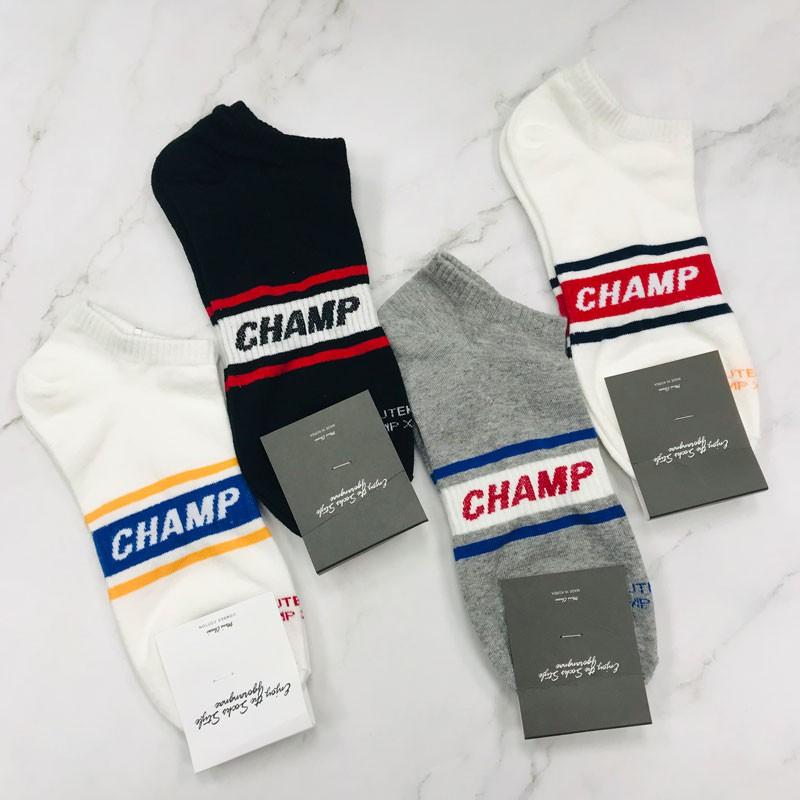男襪 CHAMP文字裸襪 船型襪 短襪 韓國襪子