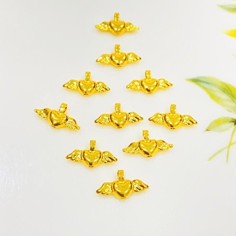 9999純金 黃金飛翔愛心 約0.02-0.03錢 黃金項鍊配件 黃金手繩串珠 黃金DIY 金喜飛來