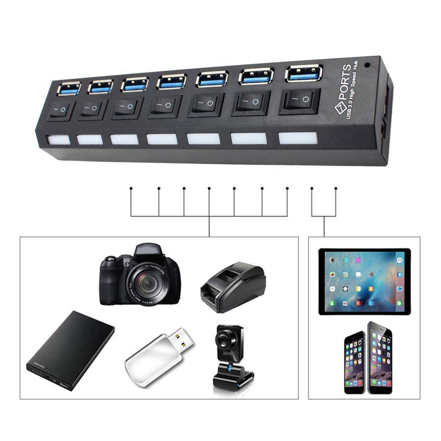【限時促銷】【現貨】獨立7口3.0hub集線器 USB3.0集線器帶電源 USB高速HUB 美規