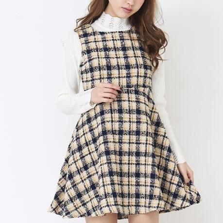 titty&Co.【Y9151-002】花呢格紋無袖洋裝 (2色)