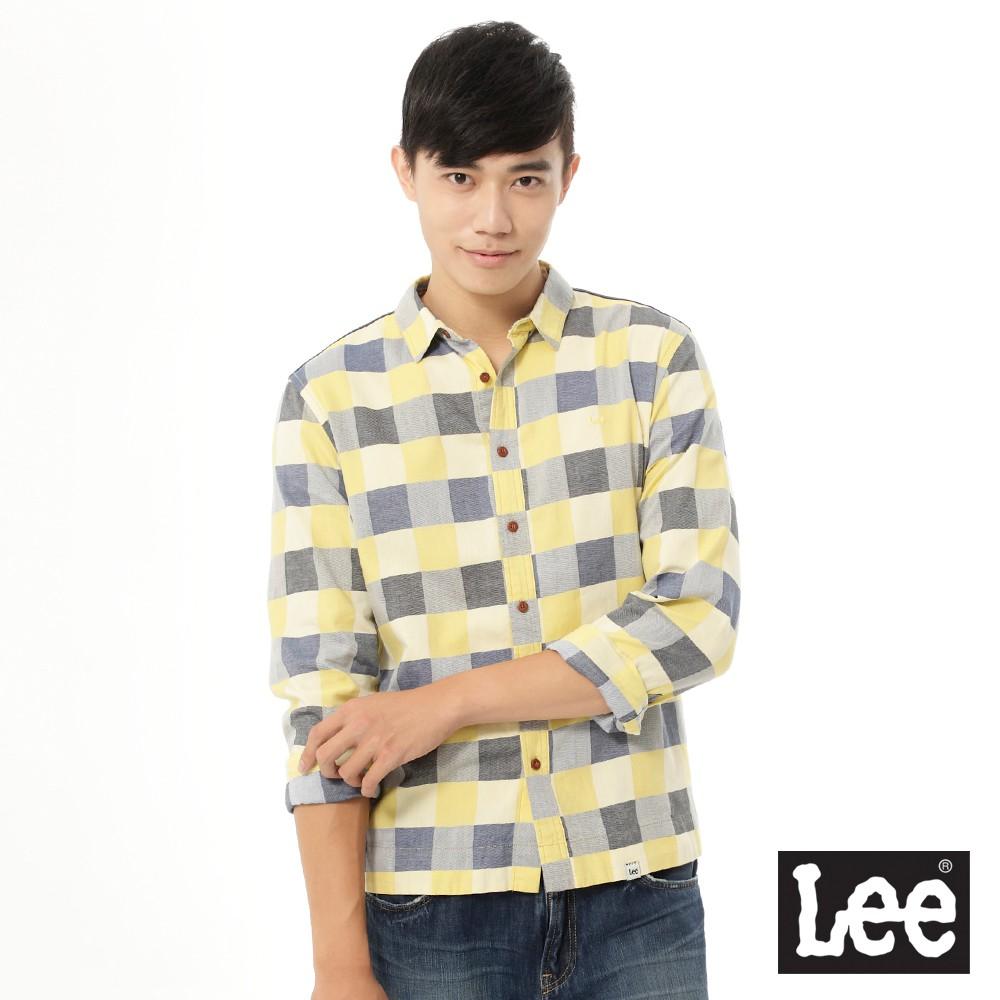 Lee 長袖襯衫 格紋和素面拼接 男 黃格紋 Mainline