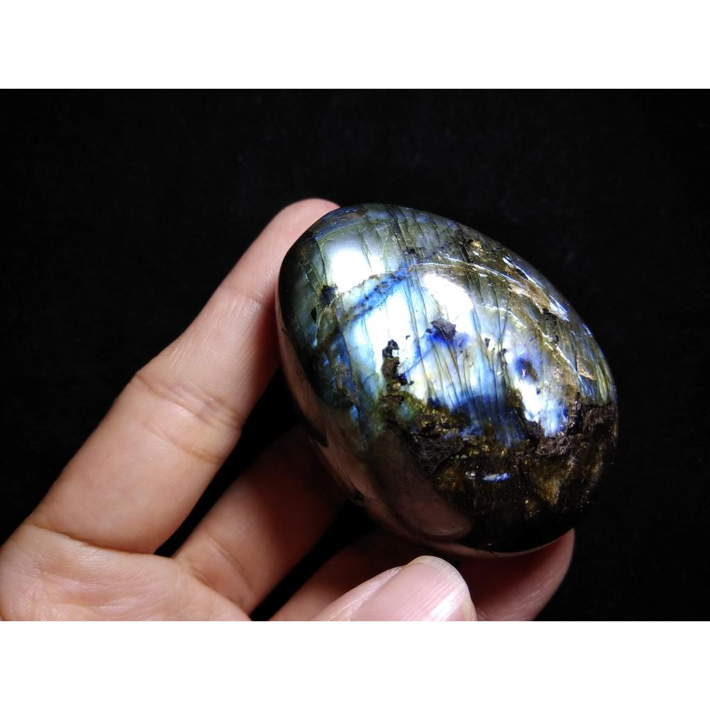 天然水晶灰月光石蛋拉長石擺件原礦原石水晶球手把件把玩件贈原木底座珠寶首飾飾品風水招財H9