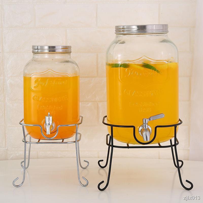 果汁罐帶龍頭玻璃瓶 透明玻璃酵素瓶帶鐵架家用果汁罐密封罐
