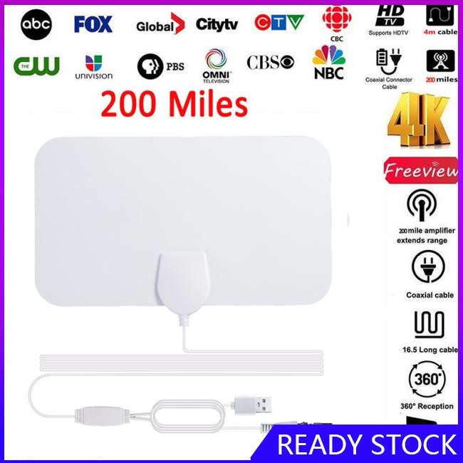 200英里範圍天線電視數字高清Skywire 4K Antena數字室內高清電視1080P帶信號