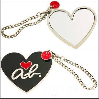 ♥agnes. b 時尚 ab heart 愛心金屬造型吊飾 背面掛鏡 鑰匙圈 個性 可搭配水餃包♥