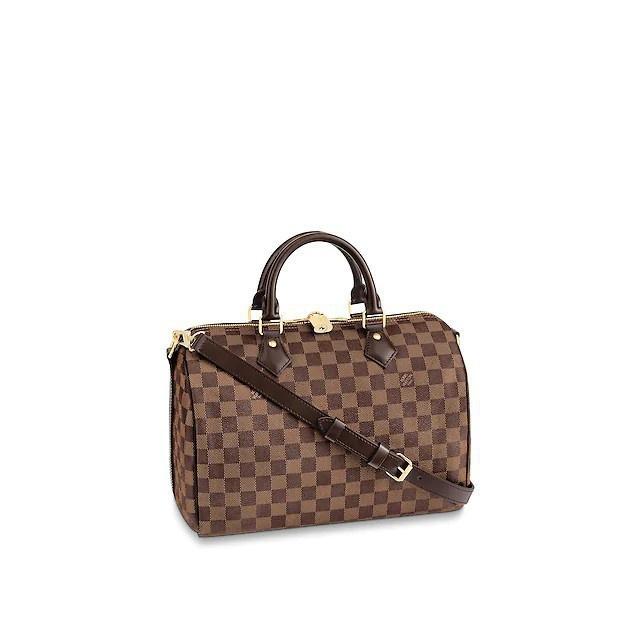 二手Louis Vuitton LV N41367 Speedy 30 棋盤格紋有背帶可調整