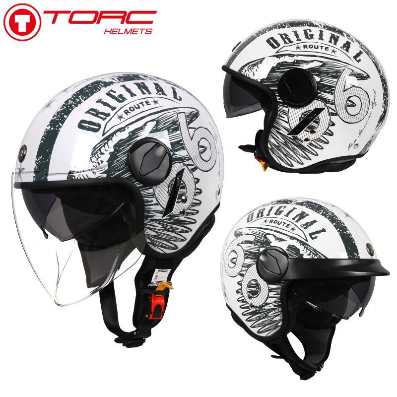 【大雄】TORC復古機車頭盔男摩托車雙鏡片機車半盔覆式女夏季防曬安全帽