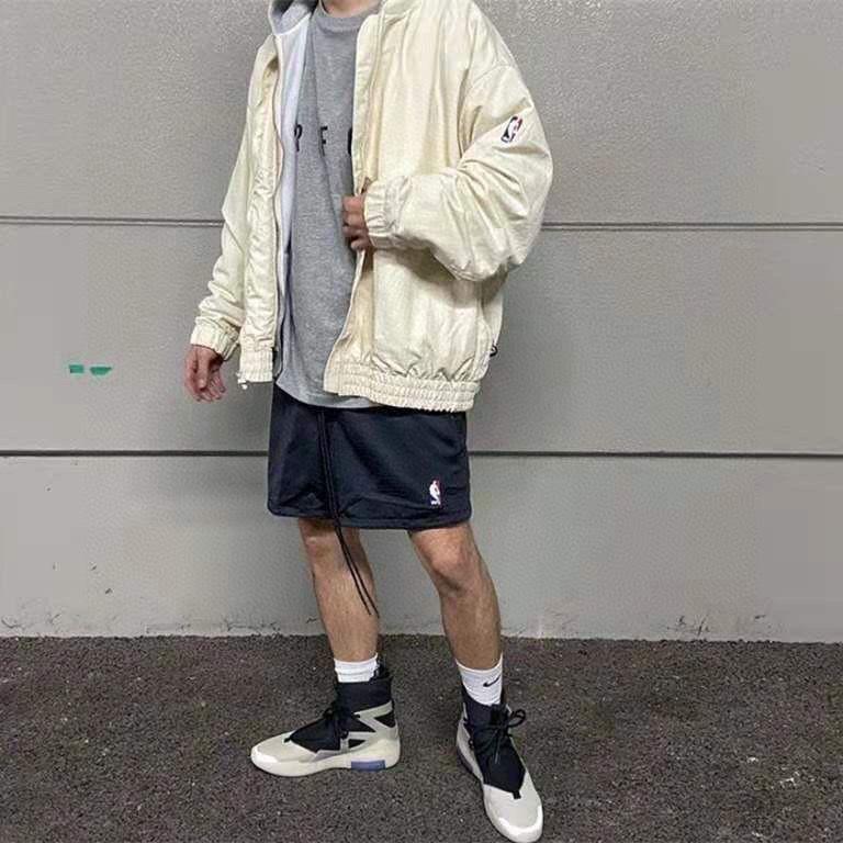 正確版 FOG FEAR GOD x NBA x NIKE 聯名 雙層網眼短褲 鬆緊腰 高街 美式運動休閒褲 短褲
