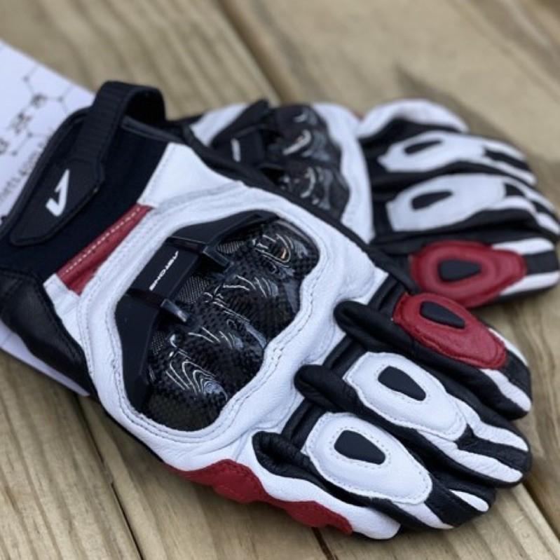 🛵大葉騎士部品 Astone LC01 真羊皮質 碳纖維 短手套 防摔 手套 四季 透氣 白紅