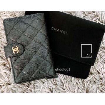 全新正品 Chanel 香奈兒 經典款 金釦 黑色菱格紋中夾/皮夾 現貨