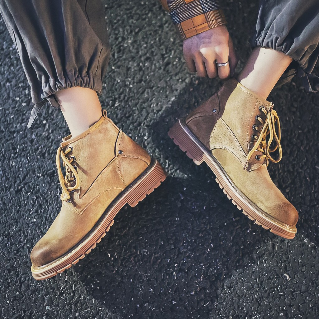 2018秋季男鞋英倫氣質馬丁靴男高幫真皮工裝氣質沙漠靴男士短靴復古潮氣質靴子