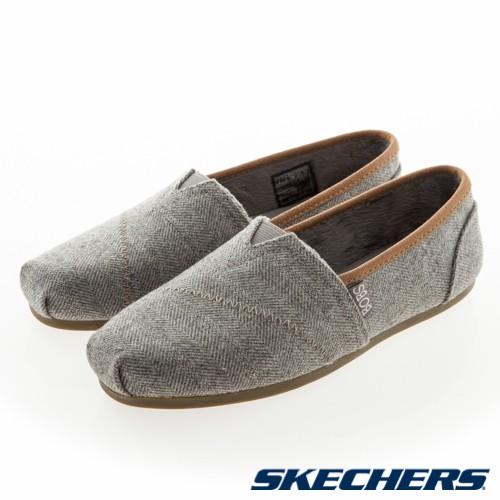 SKECHERS BOBS PLUSH 女鞋 休閒 懶人鞋 滾邊 橡膠 短絨毛 灰 棕【運動世界】33260GRY