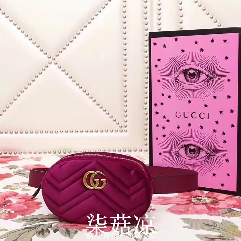 柒菇涼 Gucci古奇 GG Marmont系列玫紅色絲絨衍縫腰包橢圓形包女包