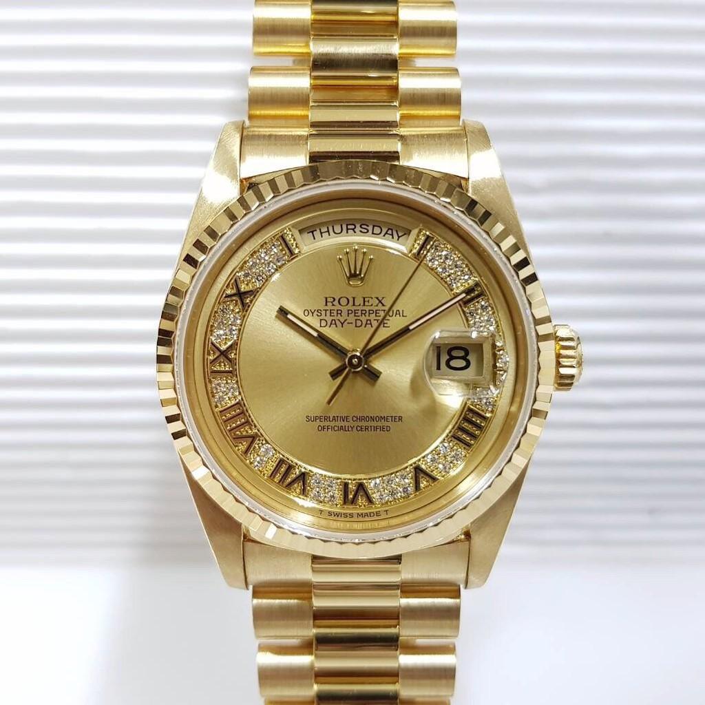 全新N廠復刻ROLEX勞力士 18k金 蠔式 18238原廠原帶未翻寫 MR多層鑽面盤 錶徑36mm自動機械