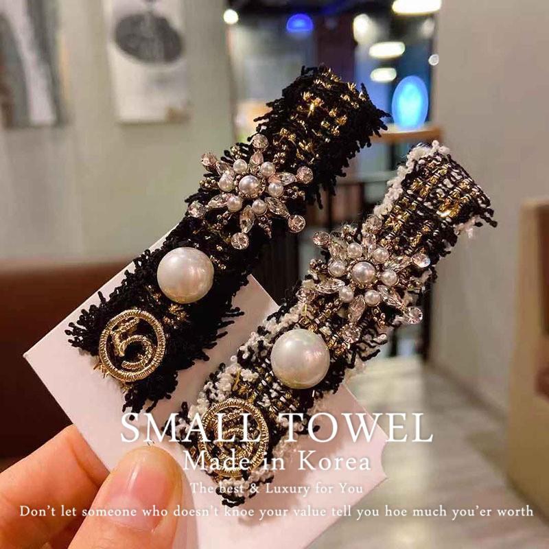ST korea韓國東大門髮飾氣質小香風布藝珍珠復古邊夾瀏海碎髮夾一字鴨嘴夾KR-636