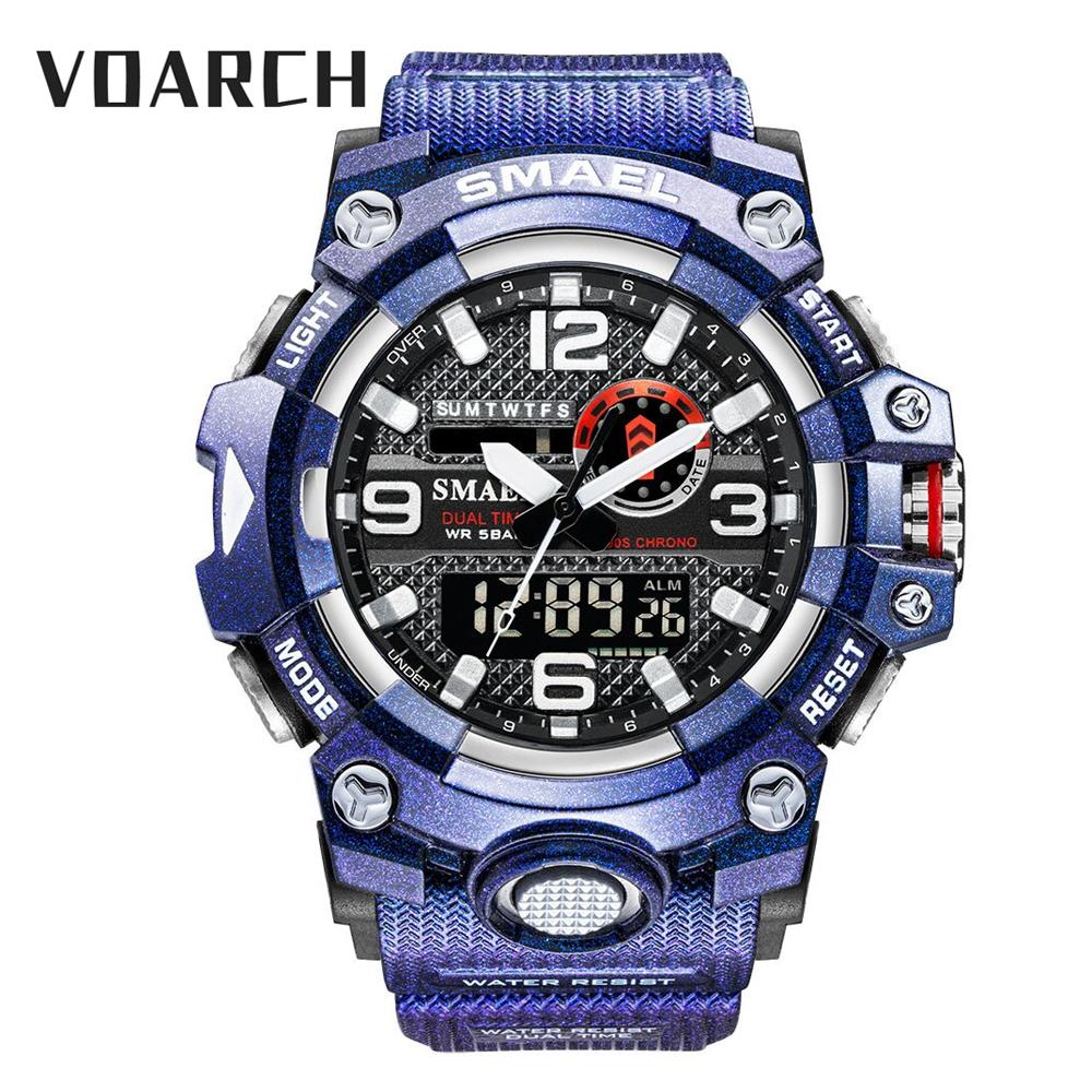 Voarch 男士手錶防水頂級品牌石英手錶軍事 Relogio Masculino 數字男鐘運動手錶