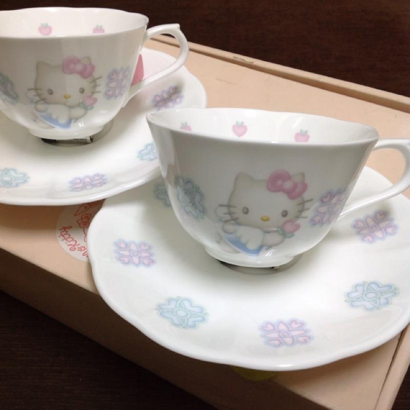 Hello Kitty Nikko 骨瓷 天使 花邊 英式 茶杯 咖啡杯盤 2入套組