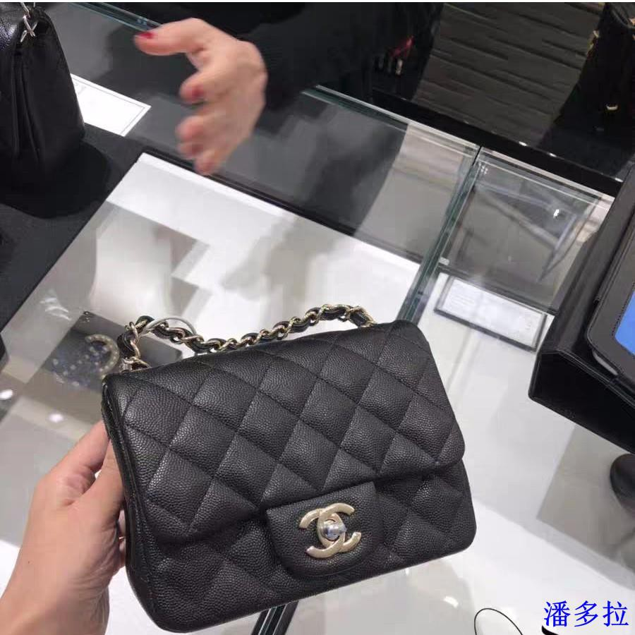 Chanel A35200 mini square 荔枝紋  黑色/金鏈   現貨