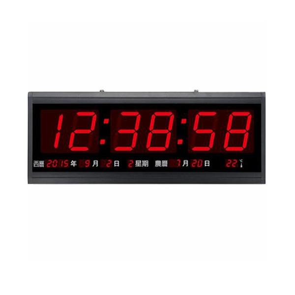 Caixing TL-4819 萬年曆電子鐘 加長加大 LED 跑秒 萬年曆 溫度 電子鐘 壁掛鐘 時鐘