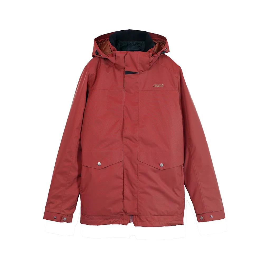 GFun 女款防水耐寒2in1蜂巢格紋外套-紅