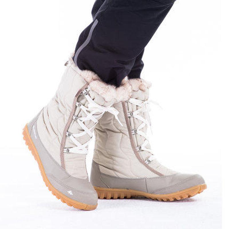 迪卡儂戶外雪地靴女加絨加厚保暖棉鞋冬季高筒女鞋防水包郵 正品