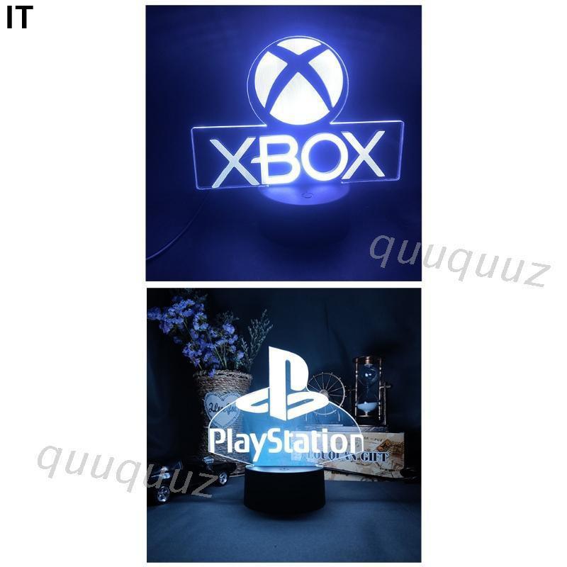 新款遊戲室書桌設置照明裝飾LED小夜燈標誌-PlayStation/-XBOX