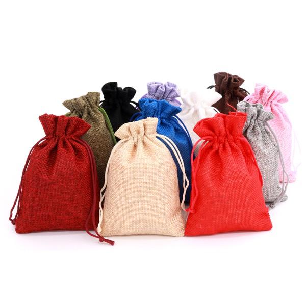 6805 彩色棉麻束口袋-小 萬用抽繩手提棉麻布收納袋 禮物袋 飾品袋