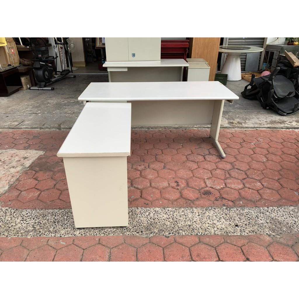 香榭二手家具*灰白面160cm L型辦公桌-主管桌-業務桌-會議桌-會計桌-電腦桌-工作桌-OA鐵桌-事務桌-書桌-中古