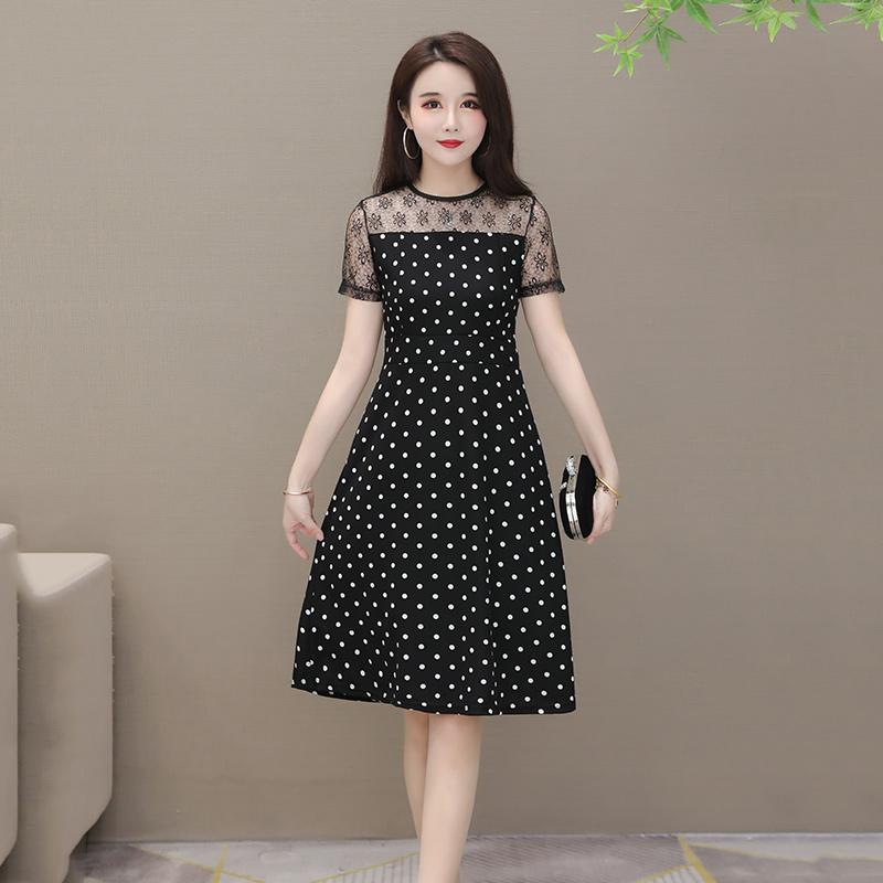 【免運】M-5X大碼女裝氣質波點及膝連衣裙夏季修身蕾絲拼接短袖洋裝媽媽A字連衣裙