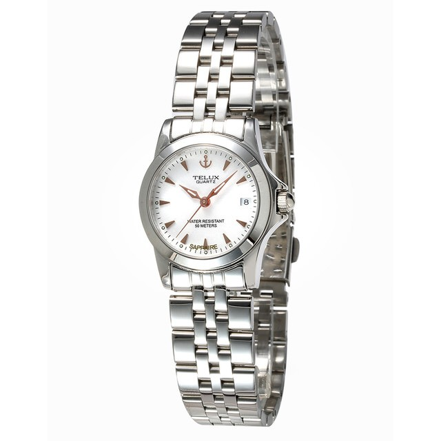 台灣品牌手錶腕錶【TELUX鐵力士】絕世女伶腕錶26mm台灣製造石英錶7925W-W15白面金釘