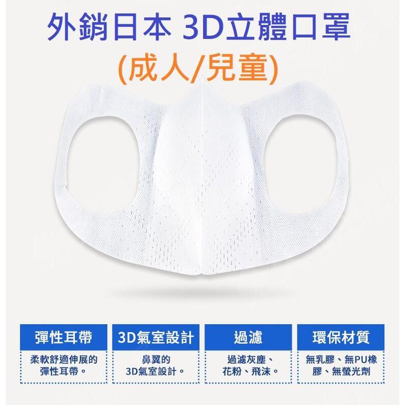 外銷日本 兒童 3D立體口罩一組10個 台灣製 掛耳不疼 口罩防塵 防花粉 防飛沫pm2.5 CNS國家檢驗合格