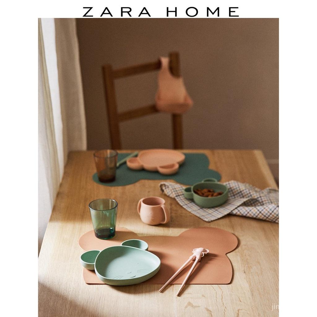 現貨Zara Home 粉色創意老鼠輪廓兒童寶寶硅膠餐墊 防水 北歐 餐墊紙 棉麻 餐墊布 矽膠 隔熱防滑西餐墊